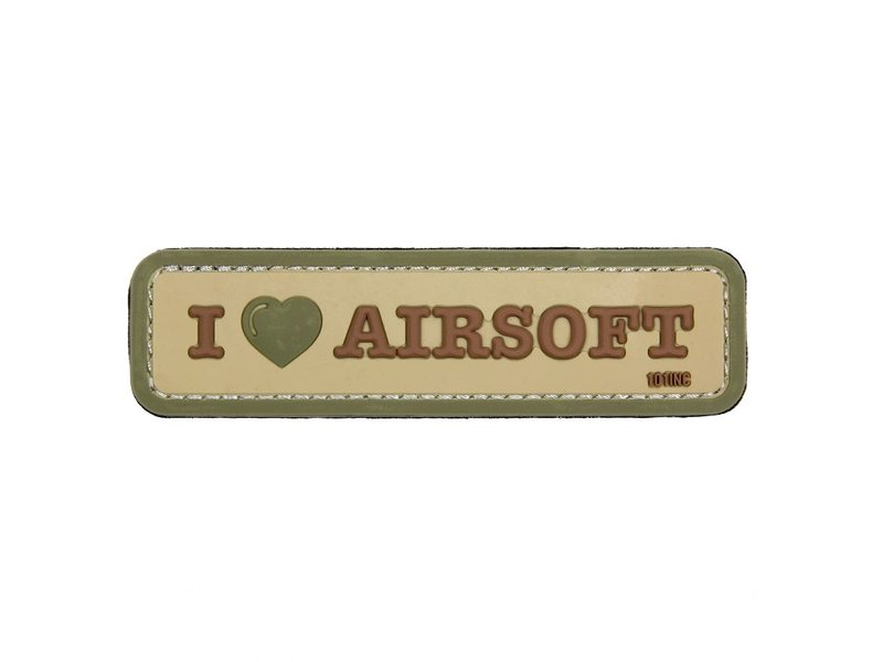 101 Inc I Love Airsoft PVC Patch (Coyote)
