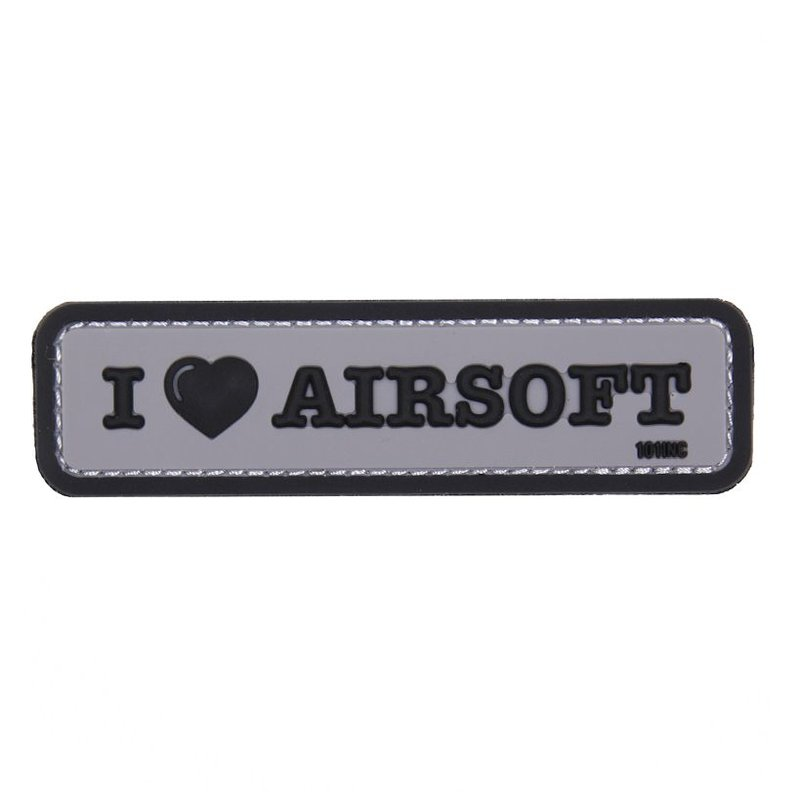 101 Inc I Love Airsoft PVC Patch (Grey)