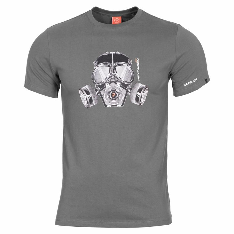 Pentagon Gas Mask T-Shirt (Wolf Grey)