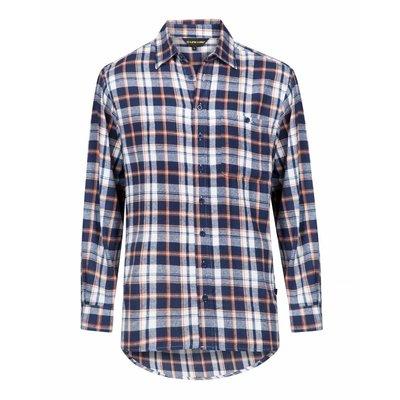 Life-Line Anton - Heren Flanel Shirt in Blauw / Oranje