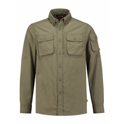 Life-Line Guide - Heren Long Sleeve Shirt in Army Green