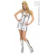 Vrijgezellenkostuum: Disco-Queen zilver
