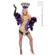 Vrijgezellenkostuum: Vegas showgirl (goud/paars)