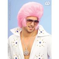 Party-accessoires: Pruik, Elvis the King in roze