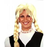 Feest-accessoires: Blonde pruik met vlechten