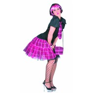 Feestaccessoires: Pruik Boblook roze/zwart