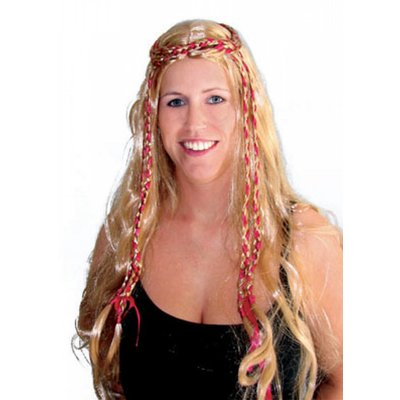 Pruik Lisette met gekleurde dreadlocks