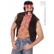 Feestpruik: Hippie met bakkebaarden snor hoofdband en bril