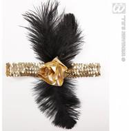 Party-accessoires: Charleston haarband met roos