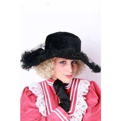 Zwarte dames hoeden met kant