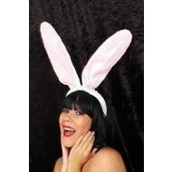Maxi konijnen oren wit met roze