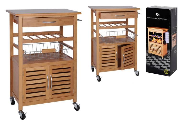 Keukentrolley Rvs : Keukentrolley BambooBijzonder handige en stijlvolle keukentrolley van
