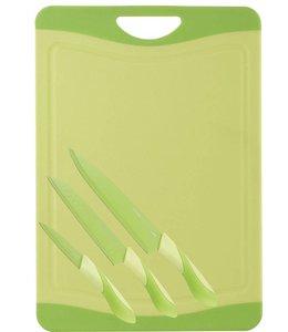 RVS Messenset met snijbord groen