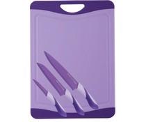 RVS Messenset met snijbord lila