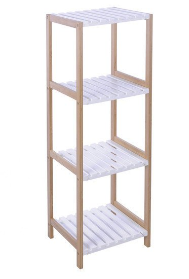 Badkamer Met Pebbles ~ Badkamerrek bamboe met witte planken hoog  Haakrvs
