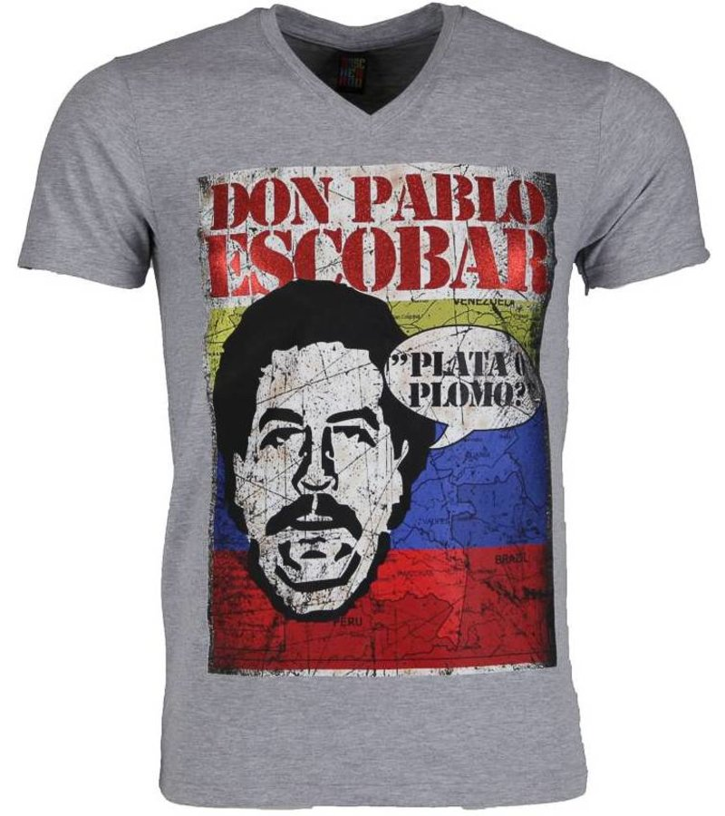 Mascherano T-shirt - Don Pablo Escobar - Grijs