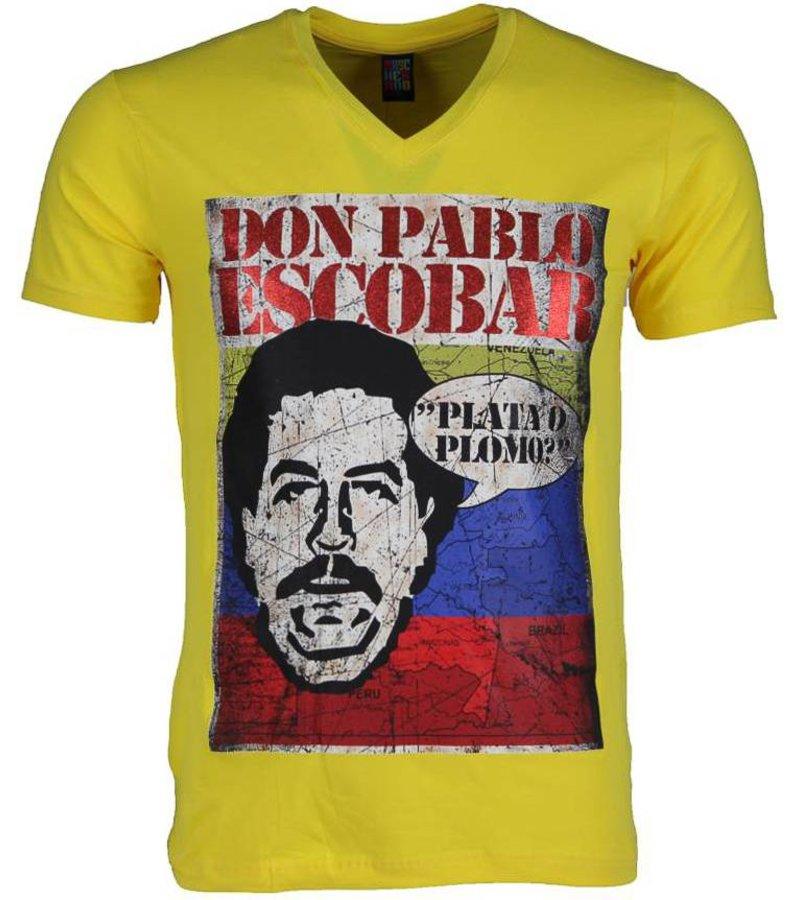 Mascherano T-shirt - Don Pablo Escobar - Geel
