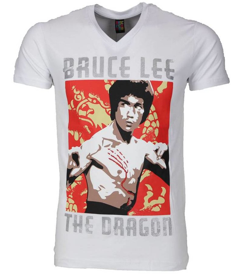 Mascherano T-shirt - Bruce Lee the Dragon - Wit
