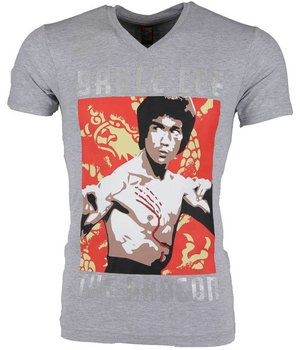 Mascherano T-shirt - Bruce Lee the Dragon - Grijs