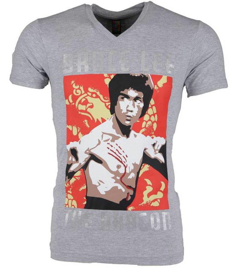 Mascherano T-shirt - Bruce Lee the Dragon - Grijs