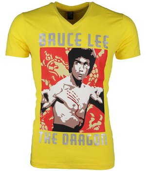 Mascherano T-shirt - Bruce Lee the Dragon - Geel