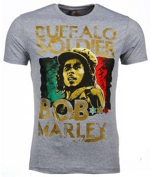 Mascherano T-shirt - Bob Marley Buffalo Soldier Print - Grijs