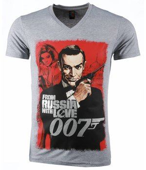 Mascherano T-shirt - James Bond From Russia 007 Print - Grijs