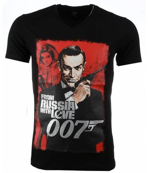 Mascherano T-shirt - James Bond From Russia 007 Print - Zwart