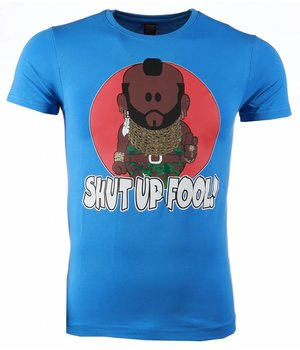 Mascherano T-shirt - A-team Mr.T Shut Up Fool Print - Blauw