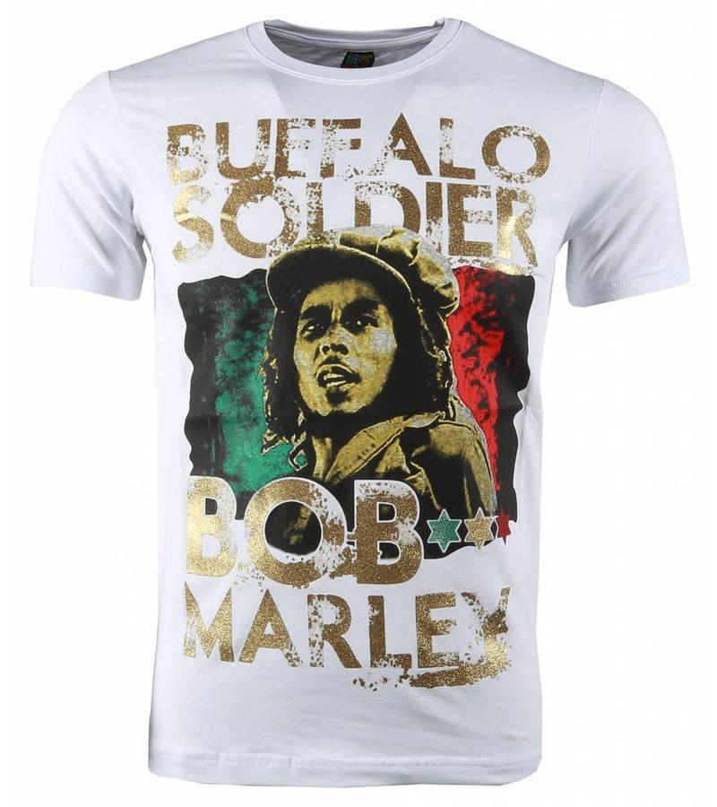 Mascherano T-shirt - Bob Marley Buffalo Soldier Print - Wit