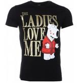 Mascherano T-shirt - The Ladies Love Me Print - Zwart