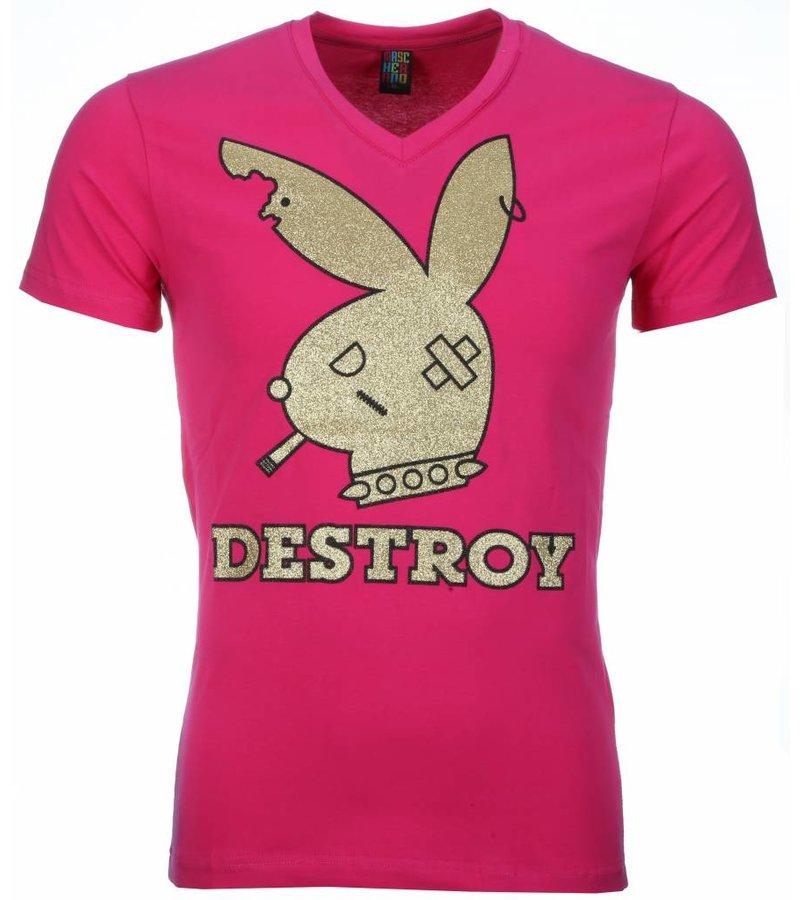 Mascherano T-shirt - Destroy Print - Roze