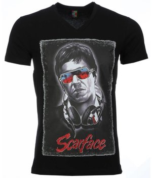 Mascherano T-shirt - Scarface Headphone Print - Zwart