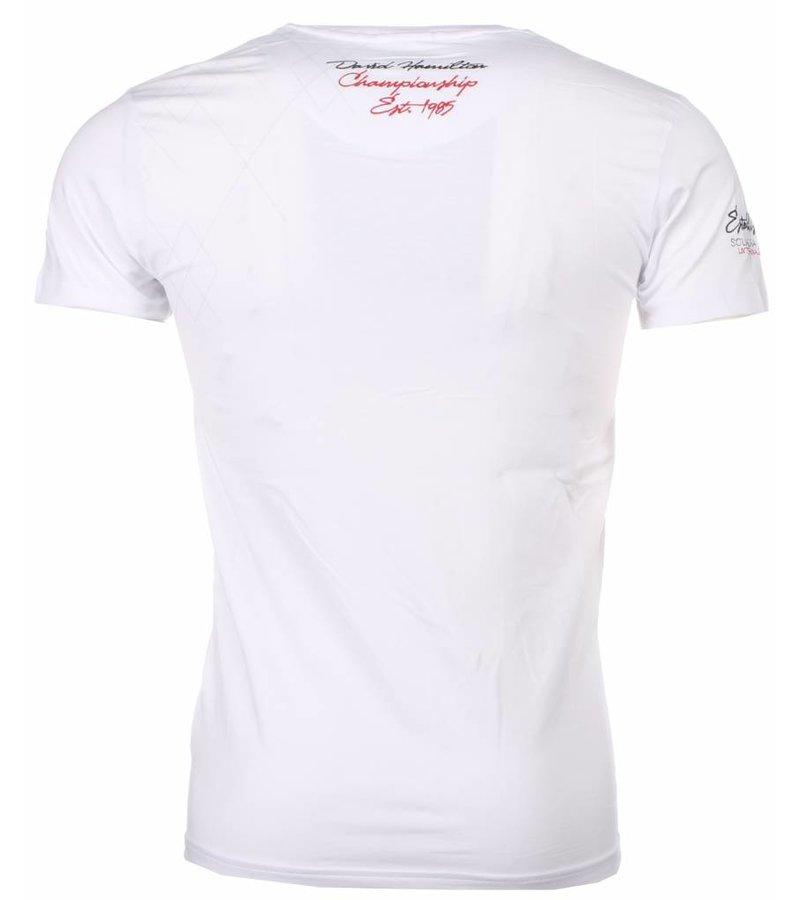 David Mello Italiaanse T-shirt - Korte Mouwen Heren - Borduur Squadra Azzura - Wit