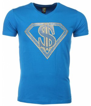 Mascherano T-shirt - Superman Dollar Print - Blauw
