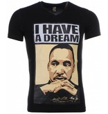 Mascherano T-shirt - Martin Luther King I Have A Dream Print - Zwart