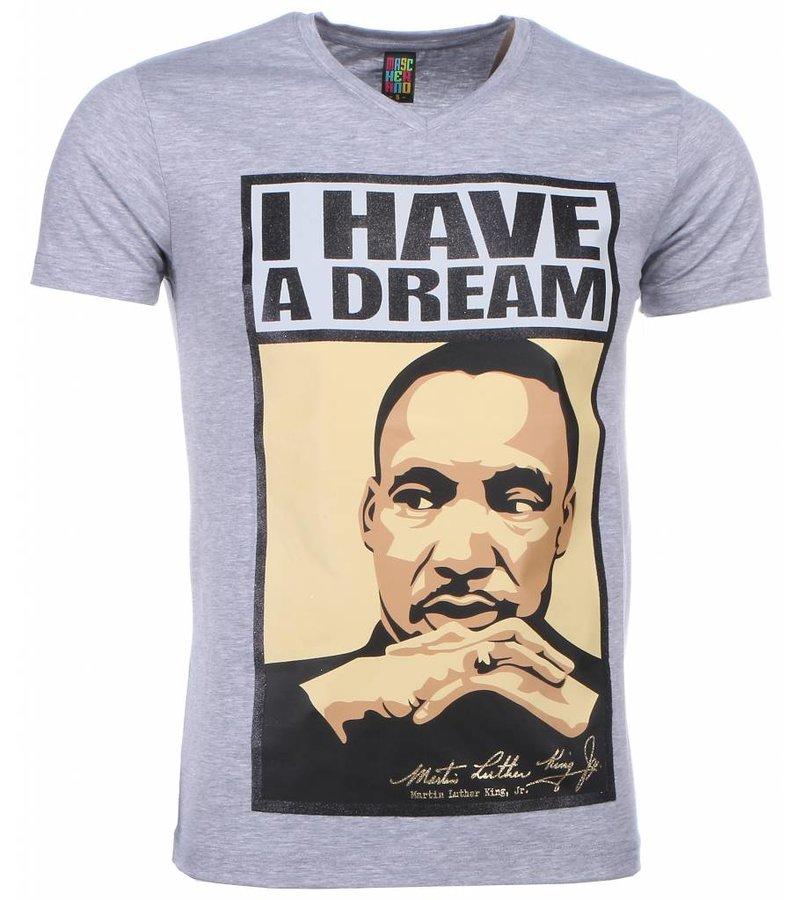 Mascherano T-shirt - Martin Luther King I Have A Dream Print - Grijs