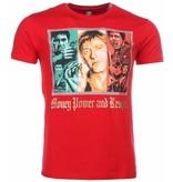 Mascherano T-shirt - Scarface Money Power Respect Print - Rood
