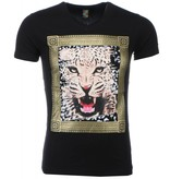 Mascherano T-shirt - Tijger Print - Zwart