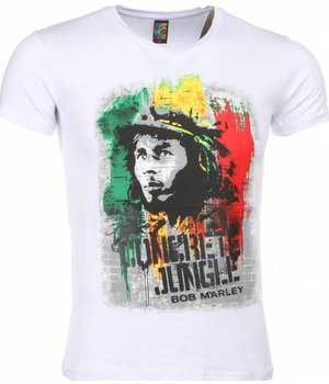 Mascherano T-shirt - Bob Marley Concrete Jungle Print - Wit