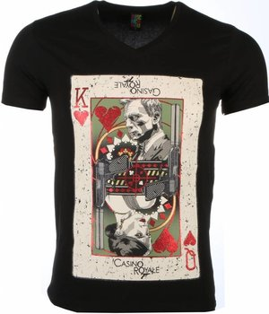 Mascherano T-shirt - James Bond Casino Royale Print - Zwart