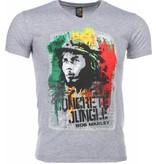Mascherano T-shirt - Bob Marley Concrete Jungle Print - Grijs
