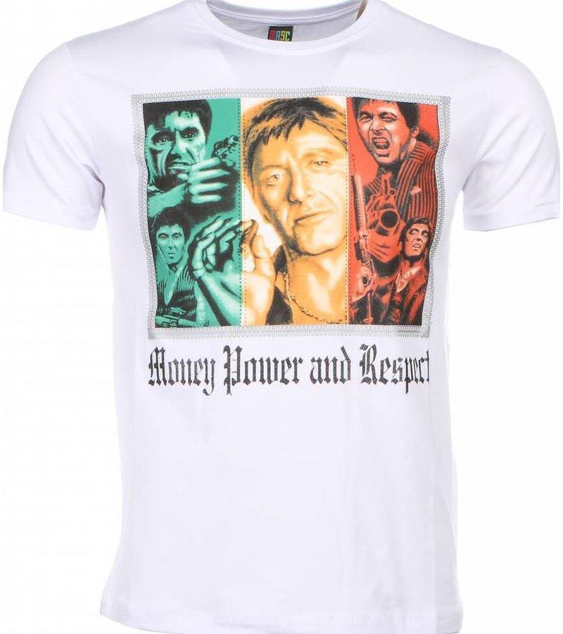 Mascherano T-shirt - Scarface Money Power Respect Print - Wit