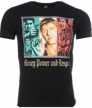 Mascherano T-shirt - Scarface Money Power Respect Print - Zwart