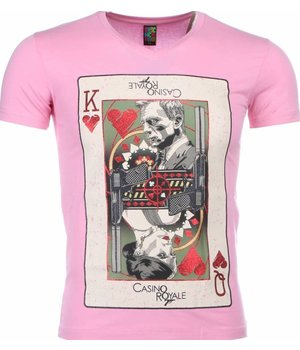 Mascherano T-shirt - James Bond Casino Royale Print - Roze