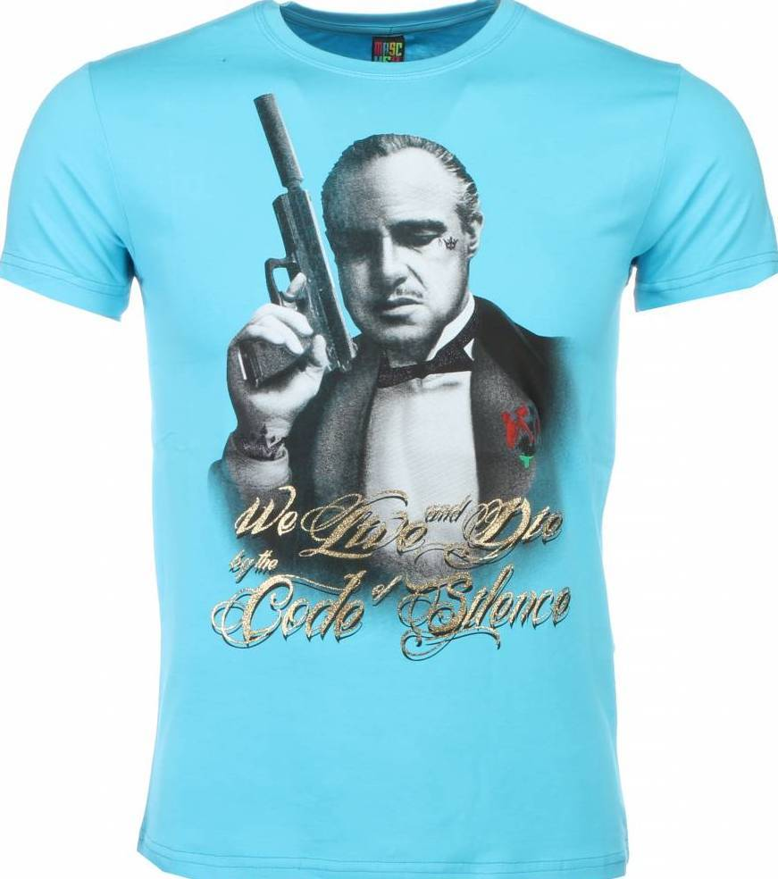 T shirt godfather print turquoise style italy for Local t shirt print shops