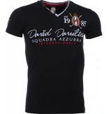 David Mello Italiaanse T-shirt - Korte Mouwen Heren - Borduur Squadra Azzura - Zwart
