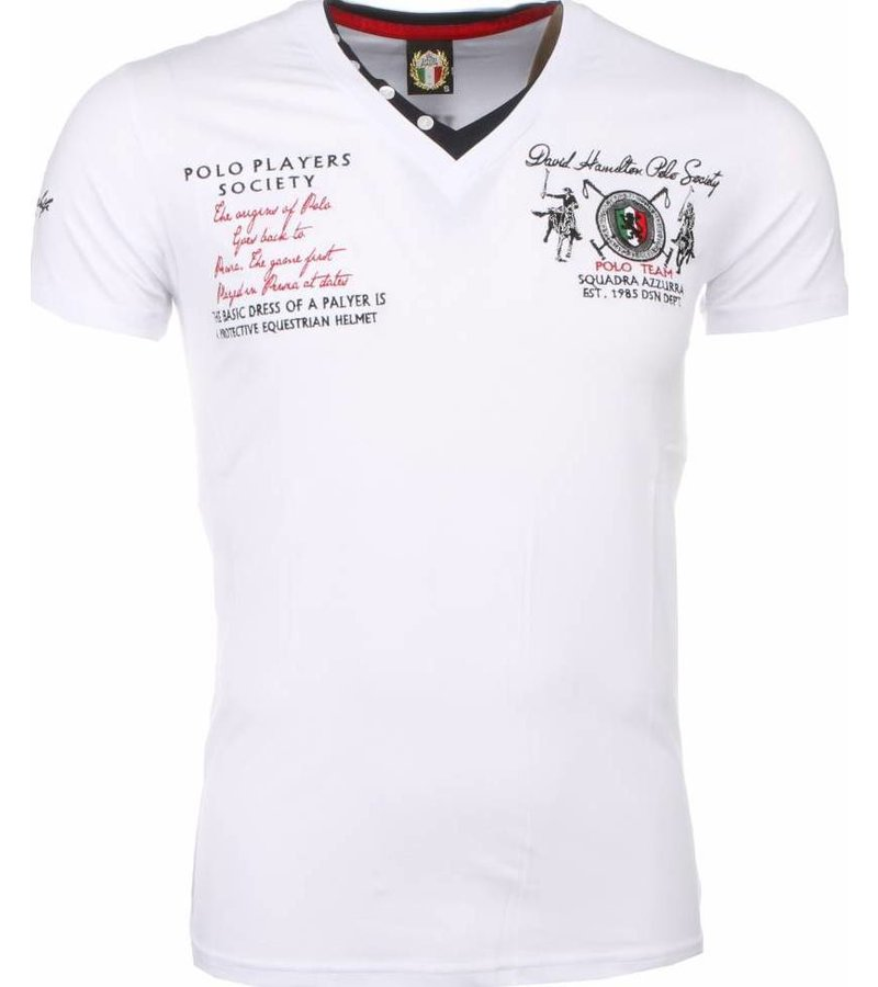 David Mello Italiaanse T-shirt - Korte Mouwen Heren - Borduur Polo Players - Wit