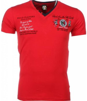 David Mello Italiaanse T-shirt - Korte Mouwen Heren - Borduur Polo Players - Rood