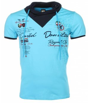 David Mello Italiaanse T-shirt - Korte Mouwen Sjaalkraag Heren - Royal Club - Turquoise